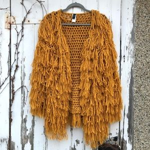 Windsor Fringe Sweater Cardigan S Mustard Indah